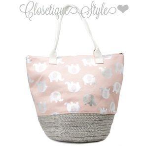 Handbags - Metallic Elephant Canvas Tote